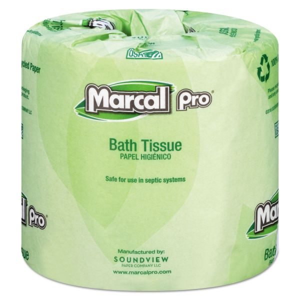 Marcal PRO 100% Recycled Toilet Paper, 2-Ply, White, 3.7 x 4.33 Sheet, 240 Sheets/Roll, 48 Rolls/Carton