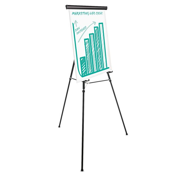 "Universal Heavy Duty Presentation Easel, 69"" Maximum Height, Metal, Black"