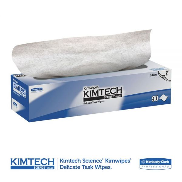 Kimtech* Kimwipes Delicate Task Wipers, 2-Ply, 14 7/10 x 16 3/5, 90/Box, 15 Boxes/Carton
