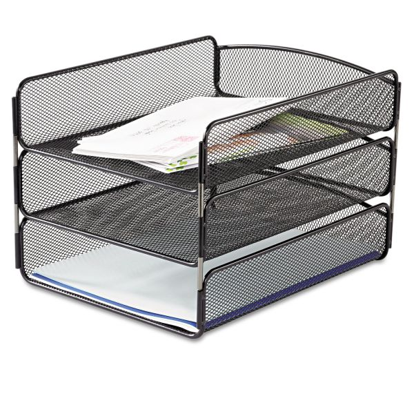 Safco Desk Tray, Three Tiers, Steel Mesh, Letter, Black
