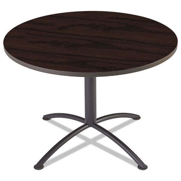"Iceberg iLand Table, Contour, Round Seated Style, 42"" dia. x 29"", Mahogany/Black"