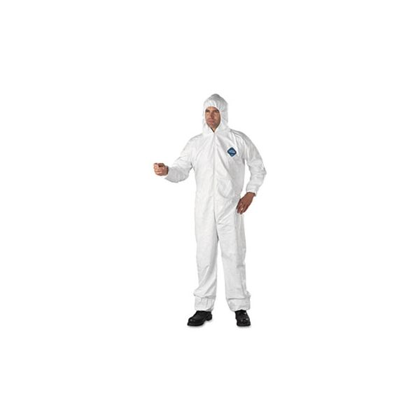 DuPont Tyvek Elastic-Cuff Hooded Coveralls, HD Polyethylene, White, 3X-Large, 25/Carton