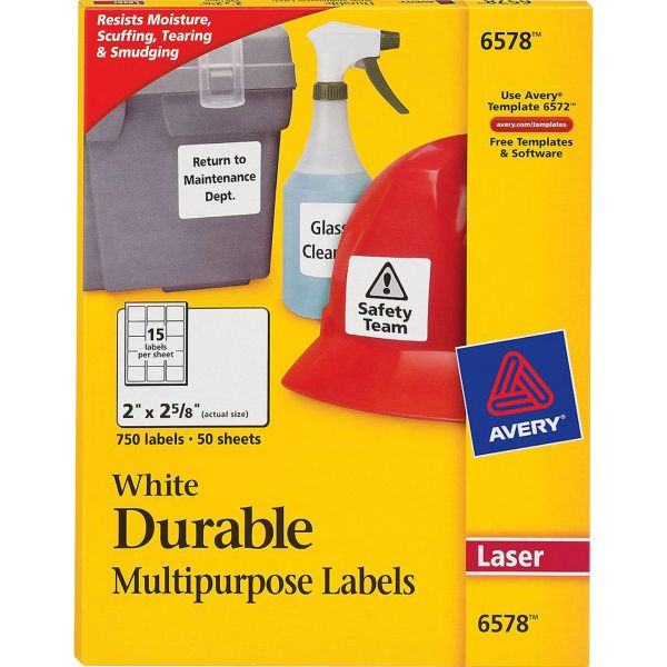 Avery Permanent ID Labels w/TrueBlock Technology, Laser, 2 x 2 5/8, White, 750/Pack