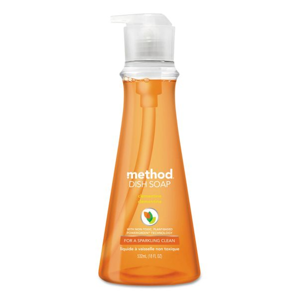 Method Dish Soap, Clementine, 18 oz Pump Bottle
