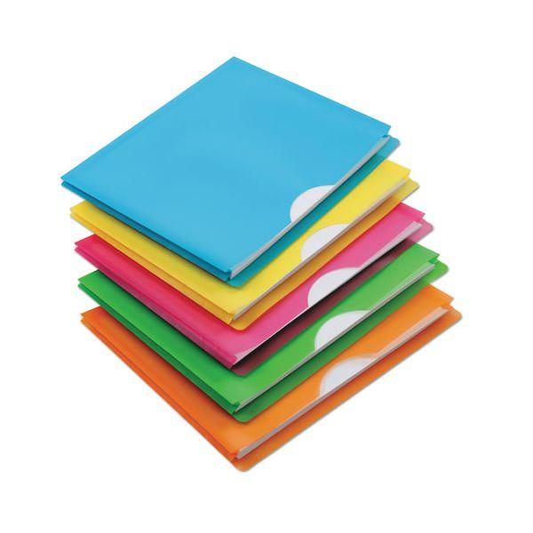 Pendaflex Glow Poly File Jacket, Letter, Polypropylene, Assorted, 5/Pack