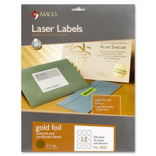 Maco Round Gold Foil Labels