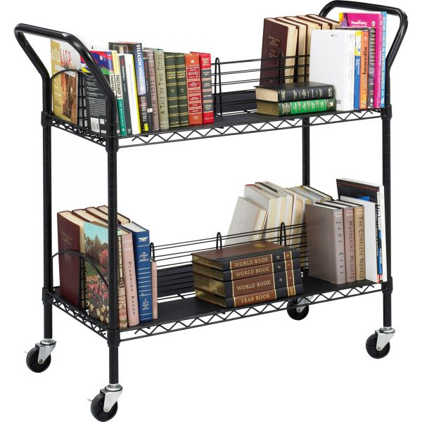 Safco Wire Book Cart, Steel, Four-Shelf, 44w x 18-3/4d x 40-1/4h, Black