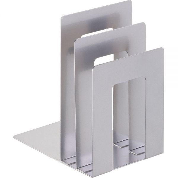 "SteelMaster Soho Bookend with Squared Corners, 5""w x 7""d x 8""h, Silver"