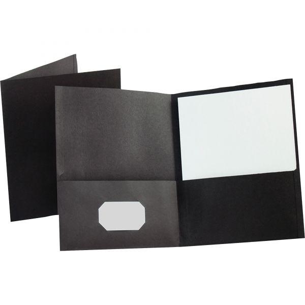Oxford Twin-Pocket Folder, 100-Sheet Capacity, Black, 25/Box