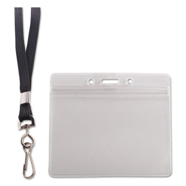 Advantus Resealable ID Badge Holder, Lanyard, Horizontal, 3 3/4 x 2 5/8, Clear, 20/Pack