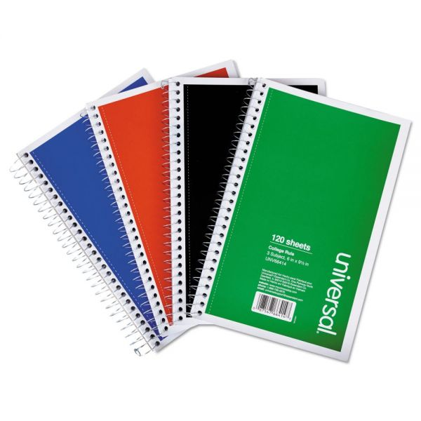 Universal 3-Subject College Ruled Spiral Notebooks