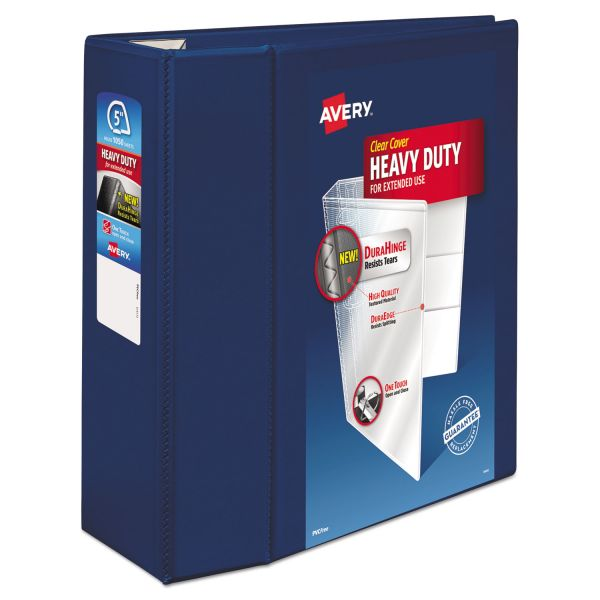 "Avery Heavy-Duty 3-Ring View Binder w/Locking 1-Touch EZD Rings, 5"" Capacity, Navy Blue"