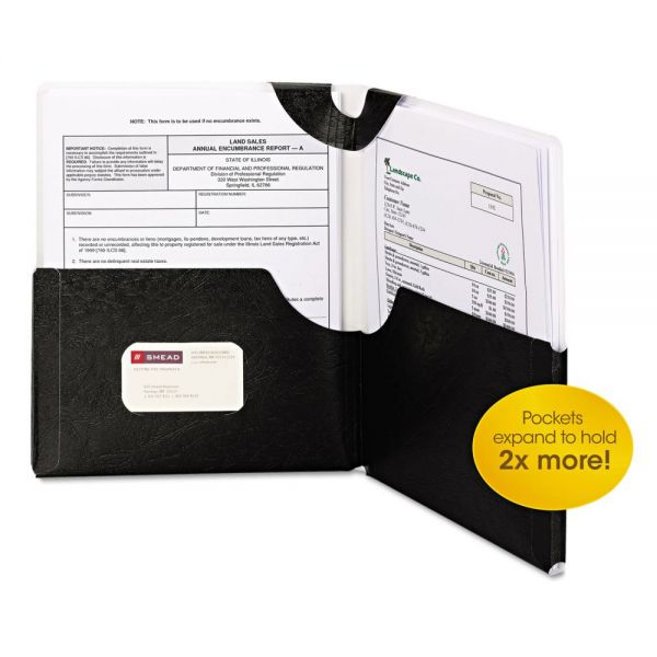 Smead Big Pocket Lockit Laminated Black Two Pocket Folders