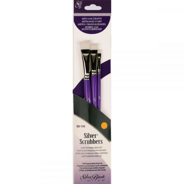 Silver Scrubber Stiff Synthetic Brush Set 3/Pkg