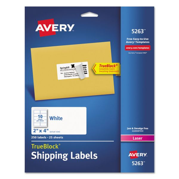Avery Shipping Labels with TrueBlock Technology, Laser, 2 x 4, White, 250/Pack