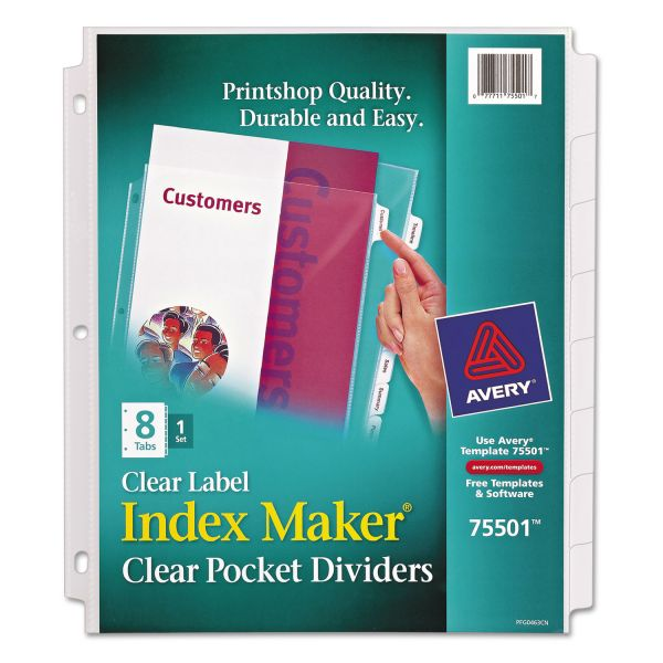 Avery Index Maker Print & Apply Clear Label Sheet Protector Dividers, 8-Tab, White Tab, Letter, 1 Set