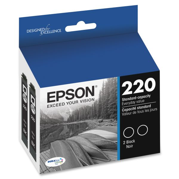 Epson 220 DURABrite Ultra Black Combo Pack Ink Cartridges (T220120D2)