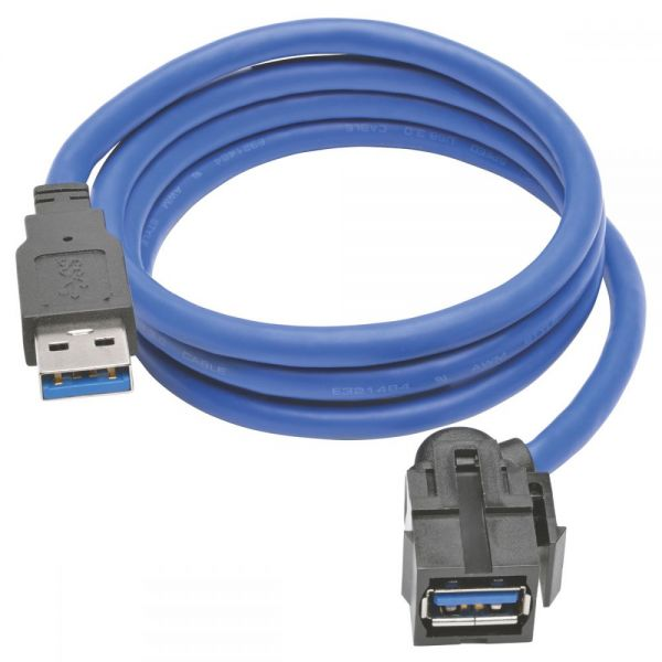 Tripp Lite USB 3.0 SuperSpeed Keystone Jack Type-A Extension Cable (M/F), 3 ft