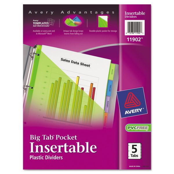 Avery Plastic Pocket Insertable Tab Index Dividers