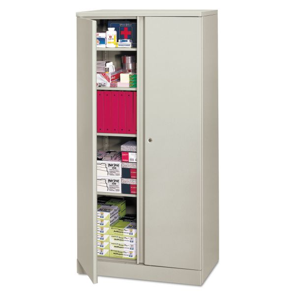 HON Easy-to-Assemble Storage Cabinet, 36w x 18d x 72h, Light Gray