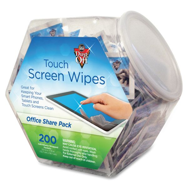 Dust-Off Touch Screen Wipes, 5 x 7 3/4, 200 Individual Foil Packets