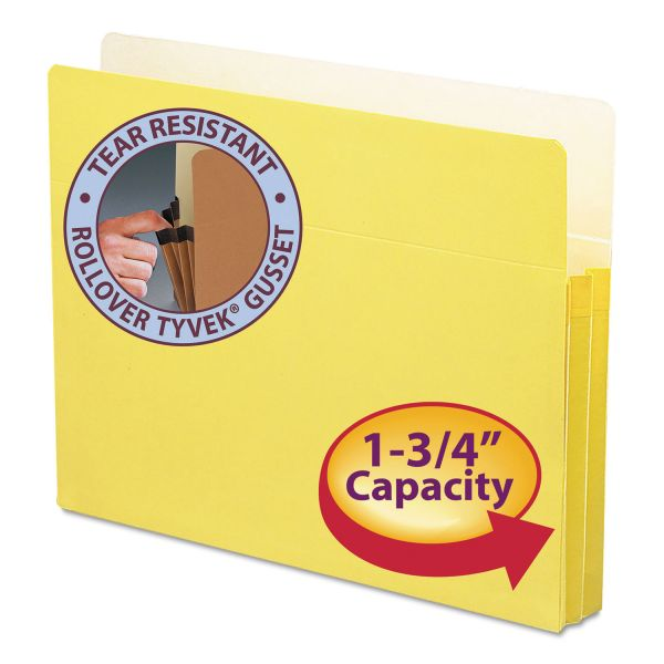 "Smead 1 3/4"" Exp Colored File Pocket, Straight Tab, Letter, Yellow"