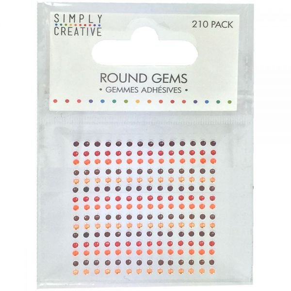 Simply Creative Round Adhesive Gems 210/Pkg