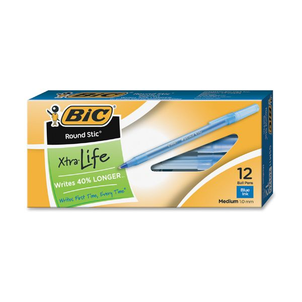 BIC Round Stic Xtra Life Ballpoint Pen, Blue Ink, 1mm, Medium, Dozen