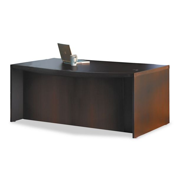 Tiffany Industries Aberdeen Bow Front Desk Shell, 72W X 42D X 29-1/2H, Chocolate