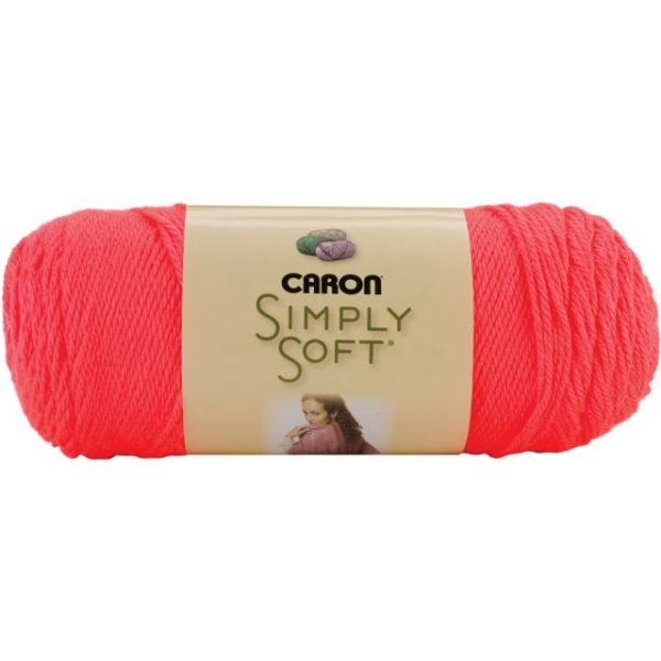 Caron Simply Soft Yarn - Neon Coral