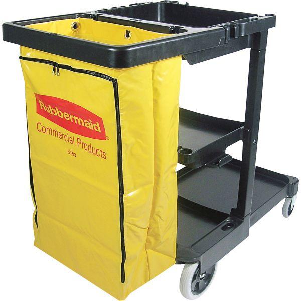 Rubbermaid Janitor Cart With Zipper Yellow Vinyl Bag