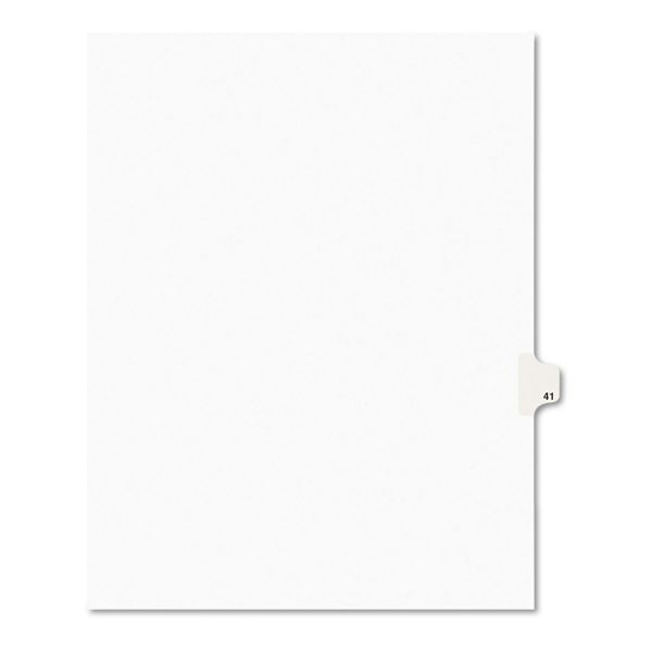 Avery Avery-Style Legal Exhibit Side Tab Divider, Title: 41, Letter, White, 25/Pack