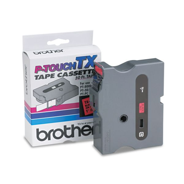"""Brother P-Touch TX Tape Cartridge for PT-8000, PT-PC, PT-30/35, 1""""w, Black on Red"""