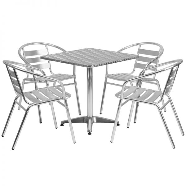 Flash Furniture 27.5'' Square Aluminum Indoor-Outdoor Table with 4 Slat Back Chairs