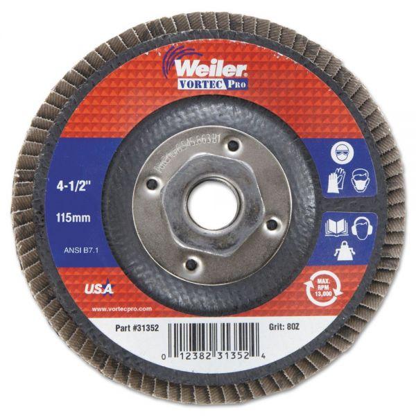 """Weiler Vortec Pro Abrasive Flap Disc, 4-1/2"""" , 80Z, 5/8""""-11A.H."""