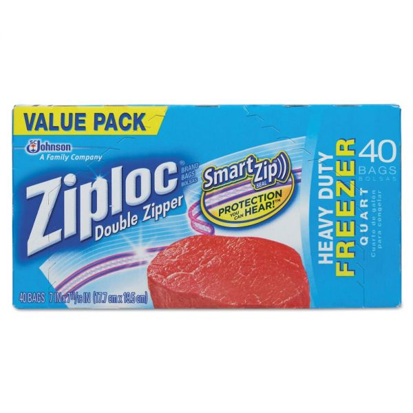 Ziploc Double Zipper Quart Size Freezer Bags