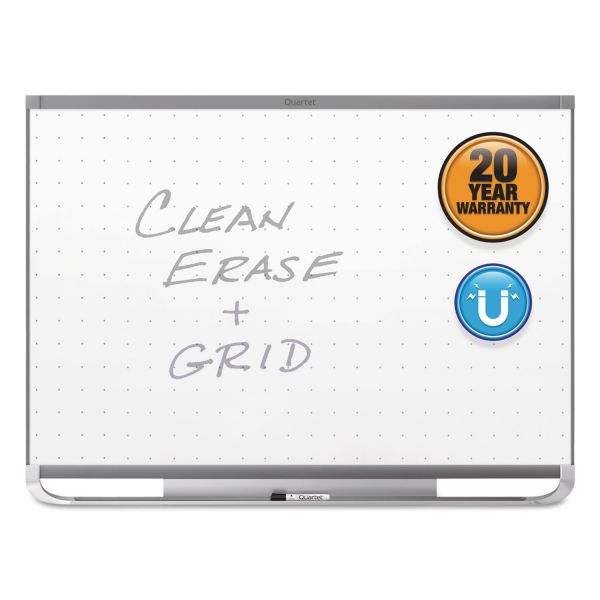Quartet Prestige 2 Magnetic Total Erase Whiteboard, 48 x 36, Graphite Frame