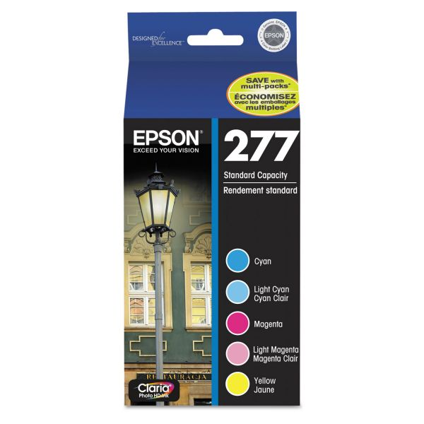 Epson T277920 (277) Claria Ink, Cyan/Light Cyan/Light Magenta/Magenta/Yellow