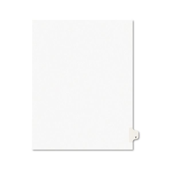 Avery Avery-Style Legal Exhibit Side Tab Dividers, 1-Tab, Title Y, Ltr, White, 25/PK