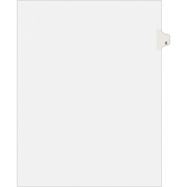 Avery-Style Legal Exhibit Side Tab Dividers, 1-Tab, Title E, Ltr, White, 25/PK