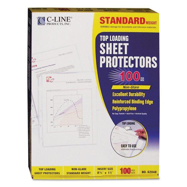 C-Line Top Loading Polypropylene Sheet Protector, Letter, Standard Gauge, Non-Glare, Clear, 100/Box
