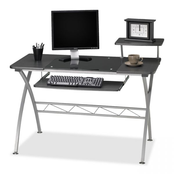 Mayline Eastwinds Vision Computer Desk, 47-1/4w x 27d x 34h, Anthracite with Black Glass