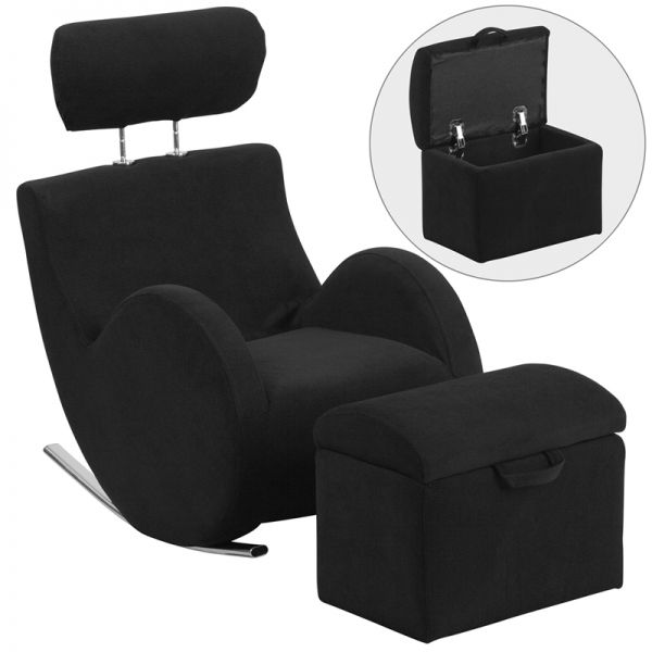 Flash Furniture HERCULES Series Black Fabric Rocking Chair with Storage Ottoman