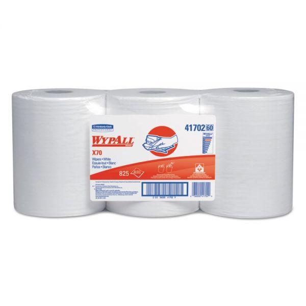 WypAll* X70 Cloths, Center-Pull, 9 4/5 x 13 2/5, White, 275/Roll, 3 Rolls/Carton