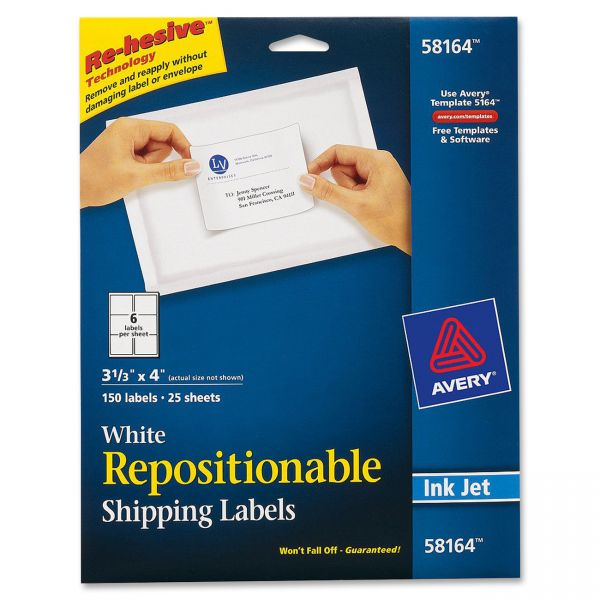 Avery 58164 Repositionable Shipping Labels