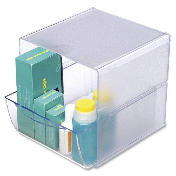 deflect-o Desk Cube with Drawer, Clear, 7 x 6 x 6
