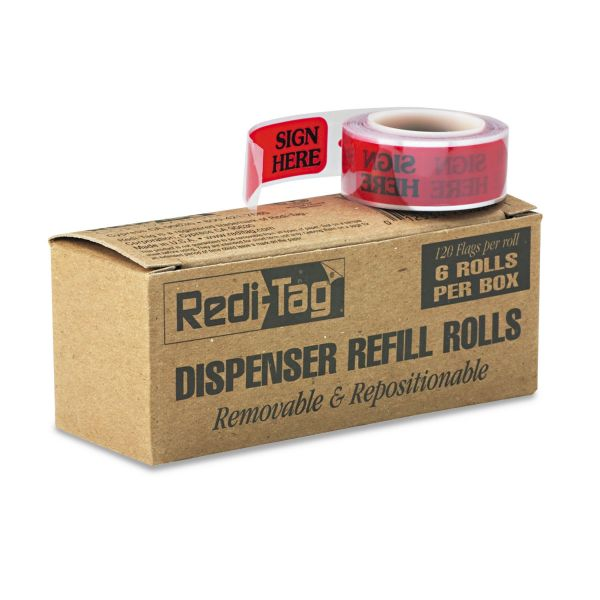"Redi-Tag Arrow Message Page Flag Refills, ""Sign Here"", Red, 6 Rolls of 120 Flags/Box"