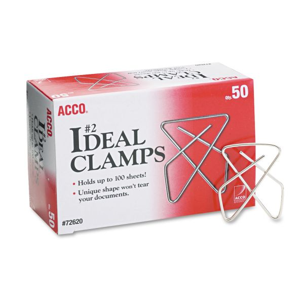 "ACCO Ideal Clamps, Metal Wire, Small, 1 1/2"", Silver, 50/Box"