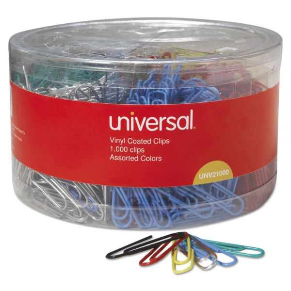 Universal Plastic-Coated Wire Paper Clips, No. 1, Assorted Colors, 1000/Pack