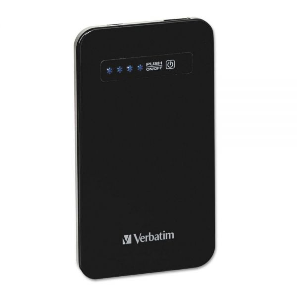 Verbatim Ultra Slim Power Pack Chargers, 4200 mAh Battery Capacity, Black